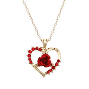 Kadınlar Şık Kalp şeklinde Ruby Rose kolye kolye 18K altın kaplama Aşk Kolye Romantik Yıldönümü Hediyesi Ücretsiz Kargo