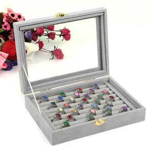 رمادي مجوهرات المنظم مجوهرات صندوق 8 مقصورات المخملية حقيبة مجوهرات حلقة عرض مربع صينية حامل صندوق تخزين منظم