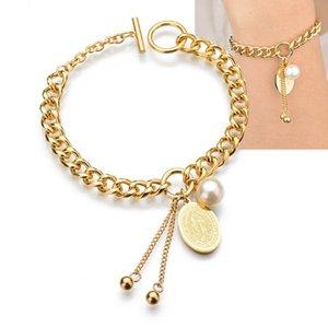 nouvelle Vierge Marie placage or en acier de titane haute fermoirs à bascule-polissage bracelets en 20cm boutique en ligne avec une bonne qualité