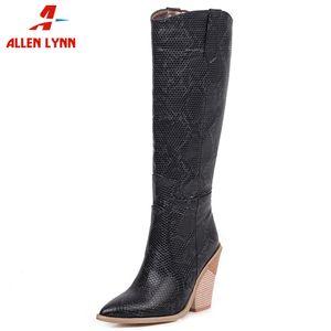 ALLENLYNN Yeni Bayanlar Yüksek Topuklar Ayakkabı Kadın Moda Parti Batı Boots Sivri Burun Diz Yüksek Boots Kadınlar