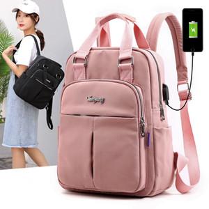 Нейлон водонепроницаемой женщин Рюкзак USB зарядной большая емкость Школа Рюкзак ранцы подросток девушка вскользь путешествия Рюкзаков LJJA3796