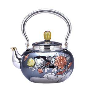 Teapot, kettle, hot water teapot, iron teapot, stainless steel kettle, tea bowl, 1000ml capacity, handmade S999 sterling silver