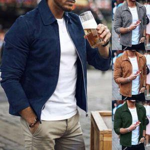 Giacca in pelle scamosciata da uomo fashion slim fit biker giacca cappotto outwear