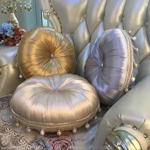 Moda Super Europeia Velvet Throw Pillow almofada redonda com franjas Handmade plissadas Roda abóbora Almofada do assento