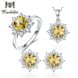 Kuololit диаспора драгоценный камень комплект ювелирных изделий для женщин твердые стерлингового серебра 925 кольцо серьги ожерелья турецкий желтый розовый Zultanite