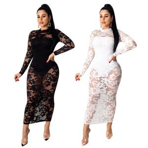 Новейший 2020 Lace Две пьесы Bodycon платья с длинными рукавами Crew Neck See Through Кружевное платье с внутренней Bodysuit голеностопного Длина Nightclub Gowns