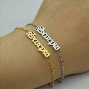 Personalisierte Old English Zodiac Schild 12 Constellation Anhänger Armband Femme Charme-Armbänder für Frauen Geburtstag Schmuck