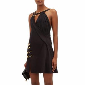 Asimétrica del remiendo vestido Pin para las mujeres 2020 Vestidos Marca mismo estilo de la moda del tirante de espagueti del hombro de la cintura alta del partido