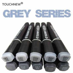TOUCHNEW freddo grigio colori pennarelli artistici in scala di grigi artista permanente marcatori per la penna della spazzola pittura marcatore studente di Scuola Forniture