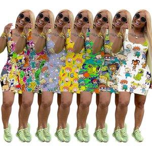 Mulheres sem mangas vestido de verão Designer Miniskirt One Piece Vestido de alta qualidade magro vestido de luxo de moda Clubwear 8853