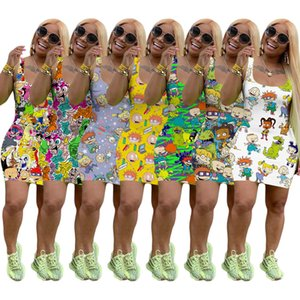 Femmes Robe sans manches été Designer Miniskirt One Piece Robe Skinny haute qualité mode Luxe Clubwear 8853
