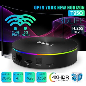Android TV Box T95Q S905X2 Android 8.1 4 + 32 / 64GB TV Box Suporte Smart TV dupla WIFI Bluetooth