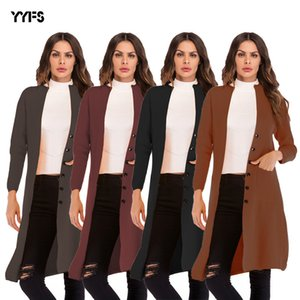Best Selling 2020 Spring New European and American Womens Single-Breasted Solid Color Shawl Coat Loose Long-Sleeved Sweater