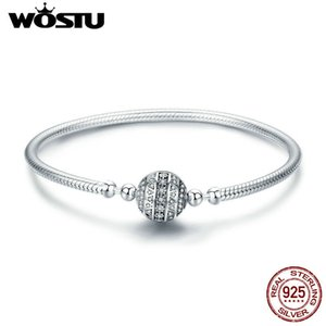 Wostu Real 925 Sterling Silver Sparkling Ball Bracelet & Bangles For Women Fit Diy Charms Beads Original Jewelry Gift Fib062 J190707
