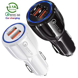 car charger QC3.0 Dual Usb Charger 5V 3.1A 2.4A Power Adapter Car Chargers For iphone 7 8 11 Samsung Note 10 S8 S10 htc android phone gps