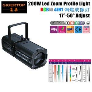 Freeshipping Tiptop 200W RGBW 4in1 Studio Theatre Led ellipsoïdale Spotlight 200W Zoom 4 Couleur DMX512 Spot Light Profil Leko -007 Tp