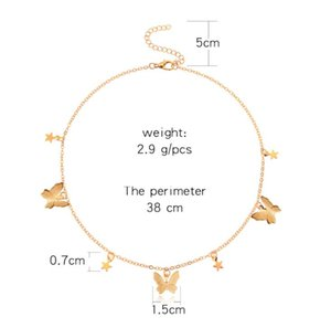 DHL Star Butterfly Choker Necklace Jewelry Gift for Women Teen Girls Dainty Chain Butterfly Pendant Necklace Collar Ladies Girls nx