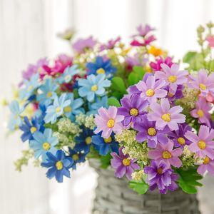 Küçük Daisy 7 Çatallar Yapay Gerbera Daisy Plastik Mavi Mor Sarı Yapay Papatya Çiçek Düğün Dekoratif Çiçekler