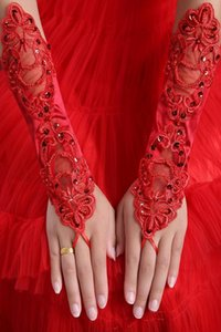 women's fashion gloves sexy red fingerless gloves red paillette lace long design