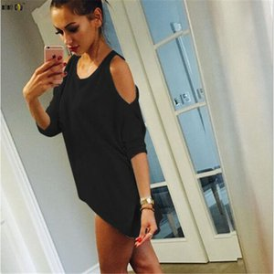 Summer T-shirt For Women Strapless Shoulder Casual Loose Femme T Shirt Round Neck Hollow Top Women Clothes Plus Size