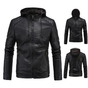 남성 폭격기 재킷 가죽 재킷 가을 겨울 바이커 오토바이 지퍼 착실히 보내다 까마귀 코트 Camperas 드 아저씨 크기 XL-3XL