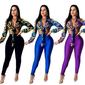 Muhteşem Kadınlar Partisi Pantolon Uzun Kollu Büyüleyici Lady Clubwear Skinny pantolonlar İki adet Outfi ile 2020 Son Style Baskı Gömlek Tops ayarlar