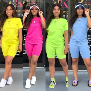Fashion Colorful Summer Short Sleeve 2PCS Set Casual Womens Crew Neck Suits Womens Designer Tracksuits