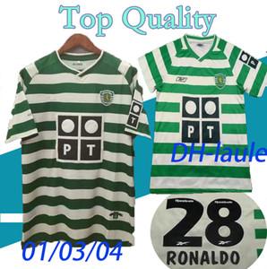 01 03 04 Sporting Clube de Porto Soccer Jersey 2004 Lisboa # 28 Ronaldo Futebol Camisa uniforme de futebol de manga curta personalizado 2001 2003