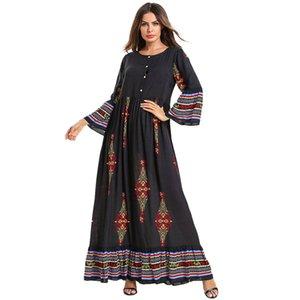 Женщины Плюс Размер Платья Этническая одежда Цветочные Печатается с длинным рукавом Сыпучие Женские повседневные платья Полная длина