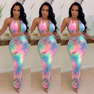 Womens Bodycon Dresse Womens Tie-dye Print Dress Fashion Ladys Halter Dresses Womens Casual Bodycon Sexy Dresses