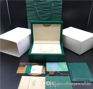 R01ex Kutusu En İyi Kalite En Yeni Stil Koyu Yeşil Ahşap İzle Kutusu Kağıtlar Hediye Deri Bag 1166ooo Saatler İçin