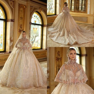 Glamorous Beading Ball Gown Wedding Dresses With Wraps Luxury Sequins Sweetheart Puffy Bridal Gowns Backless Sweep Train robes de mariée