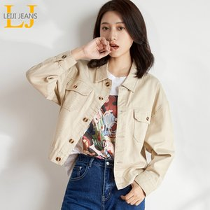 LEIJIJEANS 2020 new large size women's denim ivory spring and autumn classic fashion short paragraph ladies denim jackets 9136