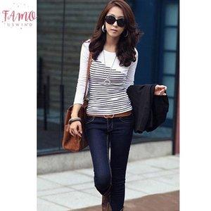 T-Shirt Frauen-Kleidung 2019 Striped T-Shirt Langarm-Tops Damenmode T Shirts Frühlings-Herbst-Winter-Baumwollbeiläufige T-Shirt