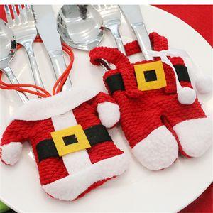Santa Hat Reindeer Noel Yılbaşı Pocket Çatal Bıçak Çatal Tutucu Çanta Ev Partisi Tablo Yemeği Dekorasyon bulaşığı
