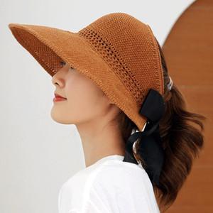 패션 접을 수있는 밀짚 뚜껑 탑 휴일 해변 모자 womens 와이드 브림 모자 고품질 태양 모자 조수 어 부 모자 7 색
