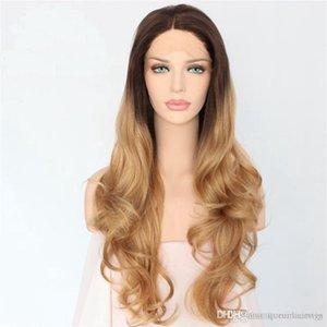 schwarz 1b # ombre # 27 blonde mittleren Teil lang wellige sytnhetic leimlose vordere Spitze feste Faser beheizen Wig