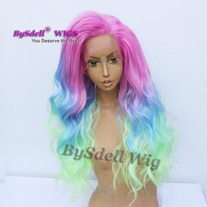 긴 섹시한 인어 인어 헤어 스타일 가발 합성 분홍색 옴브 블루 그린 컬러 머리 남성 가발 레이스 프론트 가발 for drag 여왕