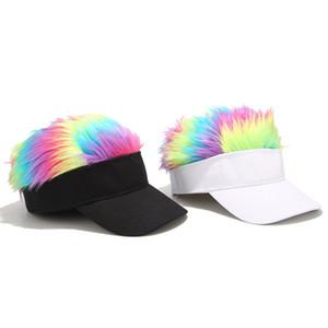 Hombres Mujeres arco iris peluca Gorros Visera de béisbol femenino divertido Shade casual caliente Skullies casquillo de la señora deporte al aire libre a prueba de viento del sombrero