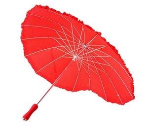 Red Heart Shape Зонт Женщины Зонтики для Валентина Свадьба Обручальное Фото Реквизит Длинные ручки Unbrellas
