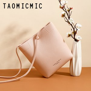 Women's 2020 Solid Color Shoulder Bag Ladies Fashion Simple PU Leather Women's Bag Casual Messenger Crossbody Bucket Bag