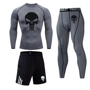 camisa de hombre de la gimnasia camiseta Running Wear Shorts Medias juego de los hombres de color sólido para la aptitud tácticas de compresión conjunto de ropa interior deportiva
