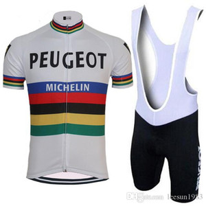 2018 PEUGEO TEAM CLASSIC SHORT SLEEVE 사이클링 저지 여름 사이클링웨어 ROPA CICLISMO + BIB SHORTS 3D GEL PAD SET 크기 : XS-4XL
