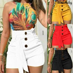 2020 Brand New Fashion Women Summer Shorts Stylish Lady High Waist Shorts Belt Solid Button Casual Women Clothing