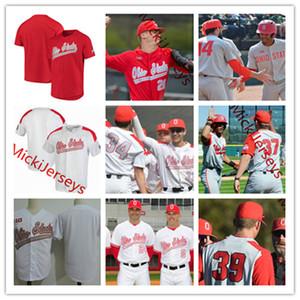 Mens Custom Staat Ohio-Rosskastanien Baseball Jersey 21 Dustin Jourdan 13 Marty Karow 27 Fred Taylor 37 Griffan Smith Ohio State Buckeyes Jersey