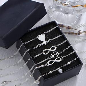 5 piece / set 럭셔리 하트 팜 팔찌 팔찌 체인 여성 패션 팔찌 팔찌 쥬얼리 세트 선물 Infinite Link Bracelet Bangle