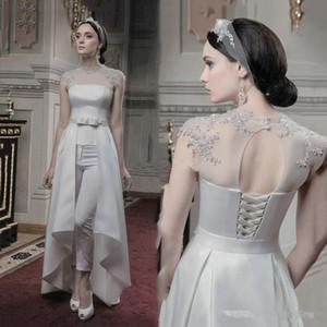 Graceful dentelle en mousseline de soie mariage avec Jumpsuit train 2020 Jewel cou à manches courtes d'été Holiday Beach Princess Bride Suit Réception Pant