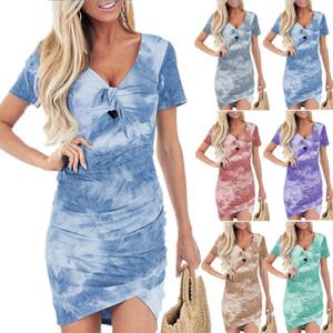 Womens stampa tie-dye Summer Dress irregolare di modo V manica corta T Designer Famale Abbigliamento