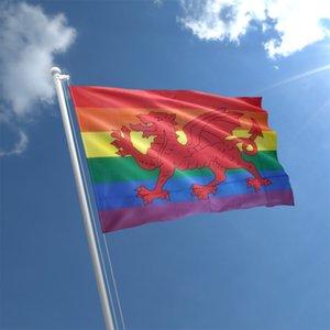 Радуга валлийский дракон флаг 3x5 футов печати полиэстер крытый открытый висит украшение флаг с латунными люверсами Бесплатная доставка