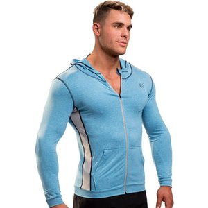 2019 hot new gym Men's Long-sleeved Round-collar Sports Fitness Exercise Outdoor Leisure Elasticity Hooded cap logo zipper